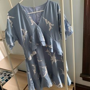 Blue and white summer dress